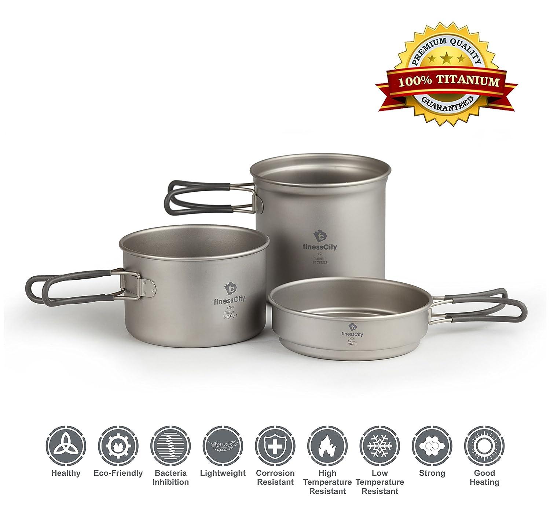 Amazon.com : Titanium Camping Cookware Set (1.2L, 800ml & 400ml) 3 ...