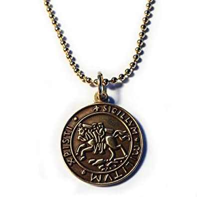 Knights templar seal crusaders solomons temple pendant necklace w knights templar seal crusaders solomons temple pendant necklace wball chain mozeypictures Image collections