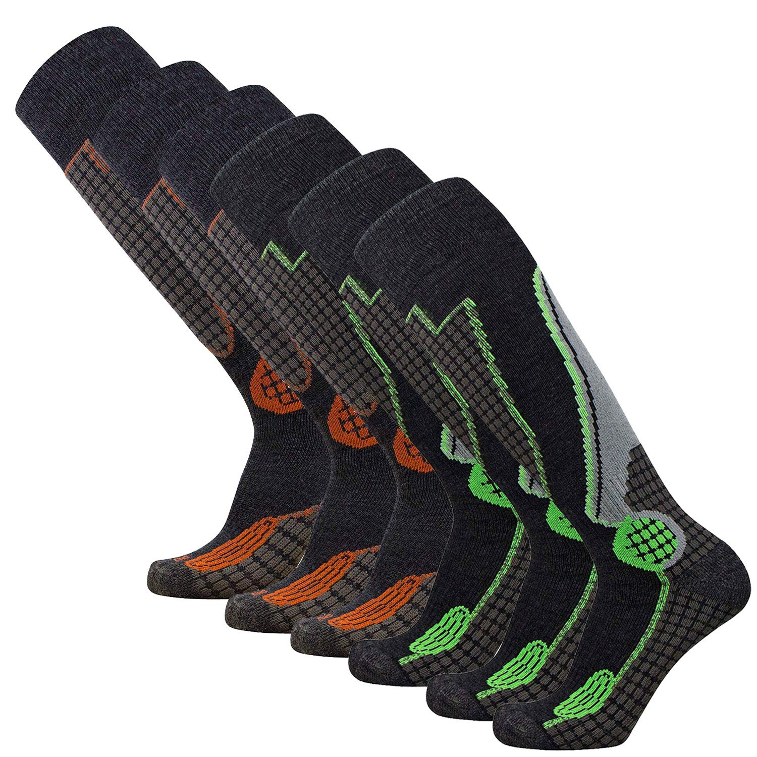 Black orange (3) + Black Neon Green (3)  6 Pack Pure Athlete High Performance Wool Ski Socks  Outdoor Wool Skiing Socks, Snowboard Socks