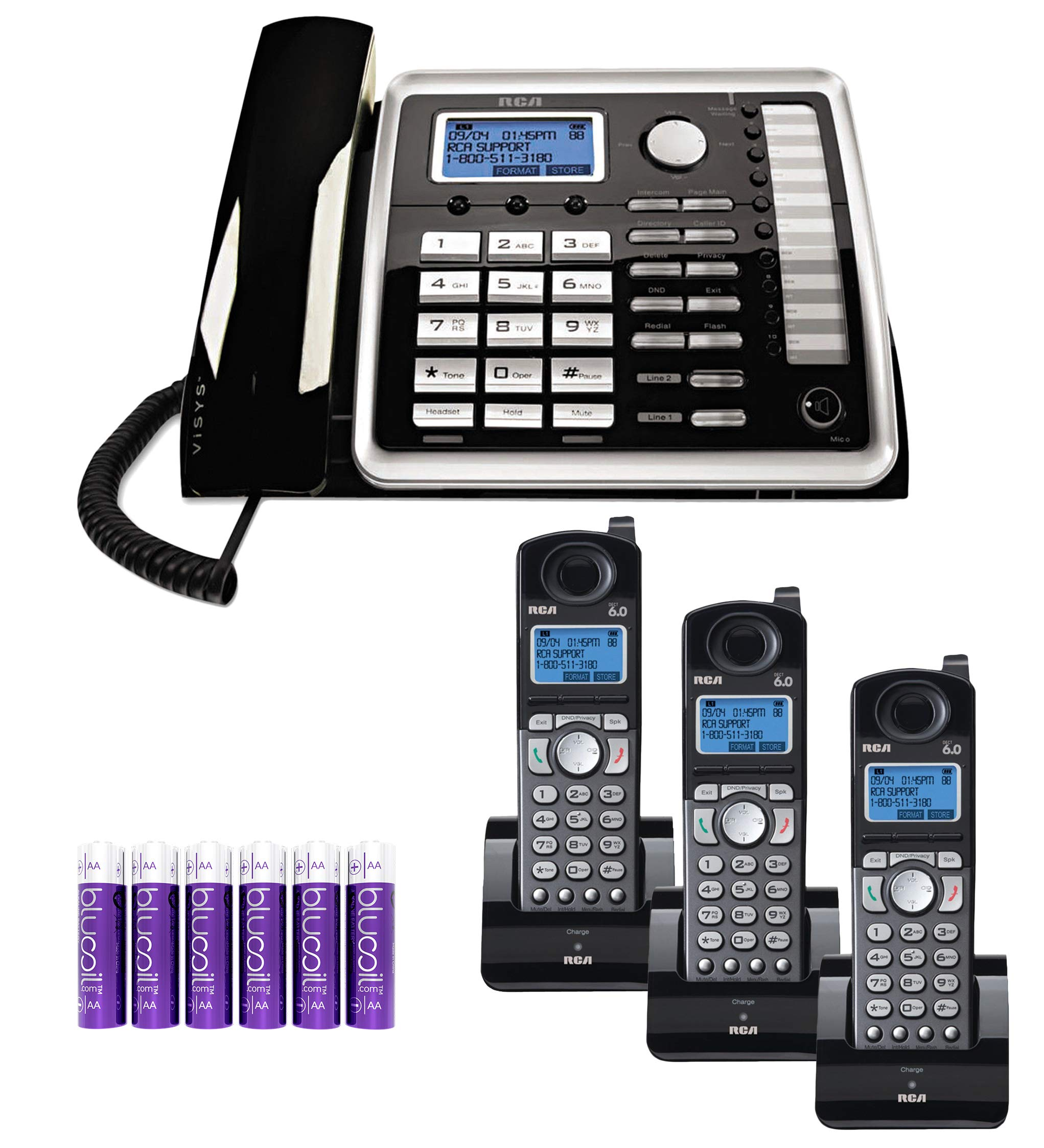 RCA 25260 2-Line Expandable Phone System - Full Duplex Telephone with Built-in Intercom Bundle with RCA 25055RE1 DECT 6.0 Cordless Accessory Handsets (3-Pack) and 6 Blucoil AA Batteries by blucoil (Image #1)