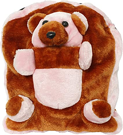 Bagaholics Cute Teddy School Bag Soft Plush Toy School Backpack for Kids (Brown)