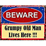 MADE IN USA *WARNING GRUMPY OLD MAN LIVES HERE METAL SIGN 8X12 MAN CAVE BAR