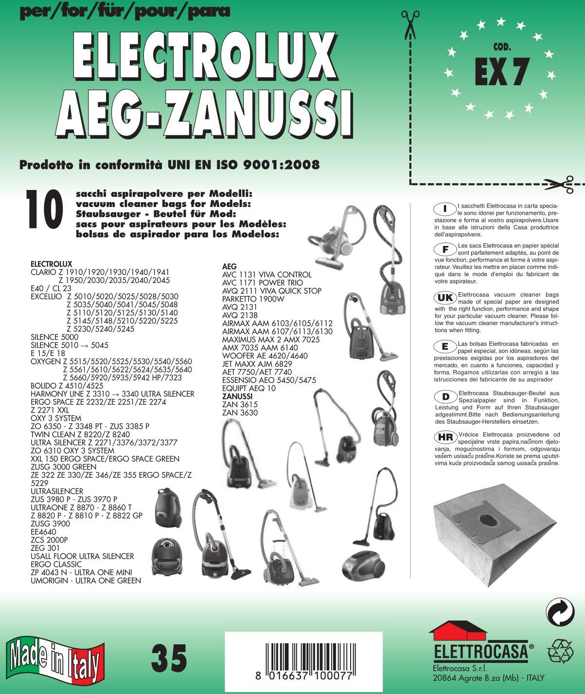 EX 7 sacchetti per aspirapolvere confezione da 10 sacchi carta elettrocasa