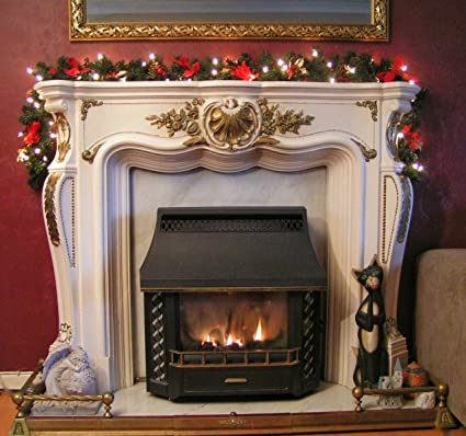 Lit 1 8m Red Fireplace Christmas Garland 6ft Swag 40 White Lights
