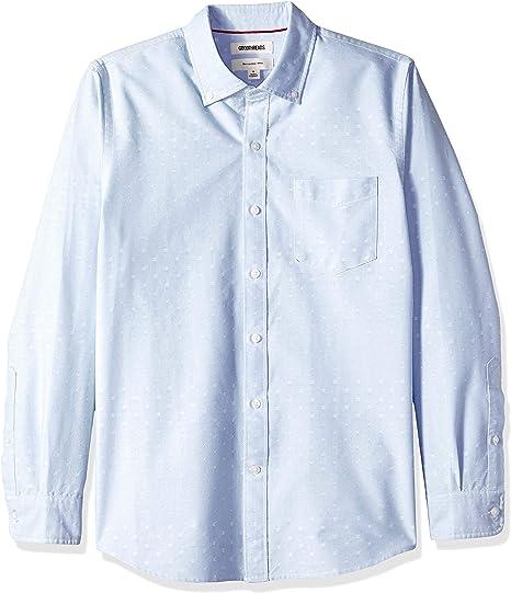 Marca Amazon - Goodthreads – Camisa Dobby de manga larga de corte entallado para hombre