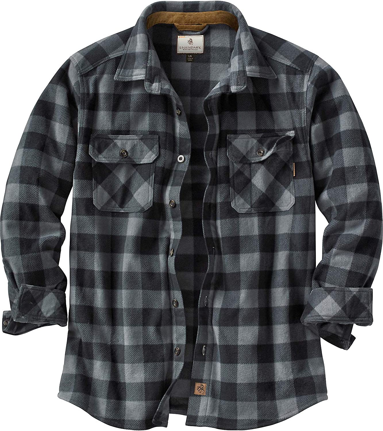 Legendary Whitetails Men's Navigator Fleece Button Up Shirt: Clothing