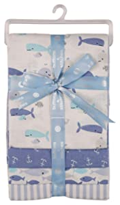 Buttons and Stitches Baby Boys 4 Pack Laddered Receiving Blankets with Whale of A Tail Print, Whale of A Tale