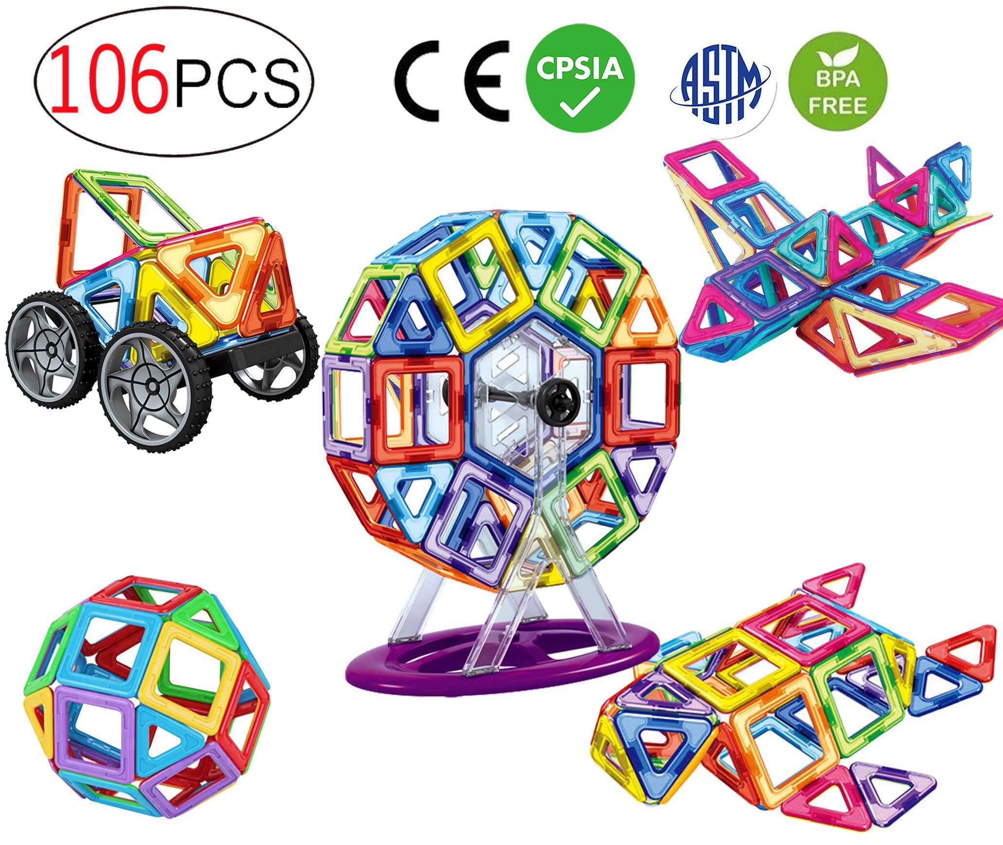 dreambuilderToy 106 PCS Magnetic Tiles Set, STEM Building Block Preschool Educational Construction Kit,3D Magnetic Toys (106 Pieces) by dreambuilderToy