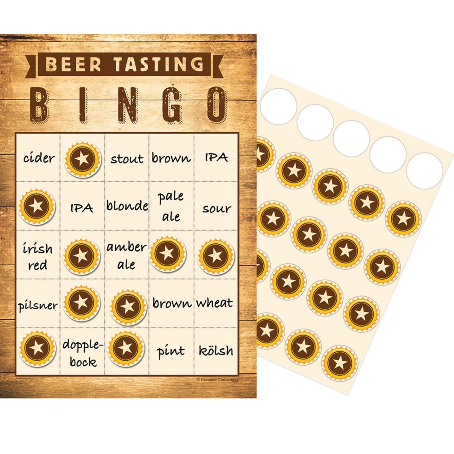 """Club Pack of 60 Brown and White Checkered''Beer Tasting'' Bingo Game 10"""" by Party Central"""