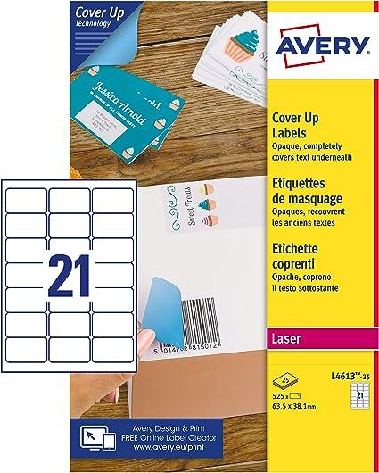 Avery España L4613-25-Etiquetas adhesivas blancas cubrientes,63,5x38,1mm, 21etiquetas por hoja, caja de 25 hojas: Amazon.es: Oficina y papelería
