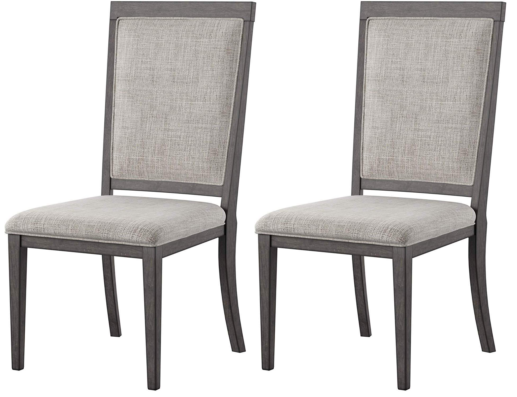 Ashley Furniture Signature Design - Chadoni Dining Side Chair - Set of 2 - Upholstered - Metal Accents - Smoky Gray Finish