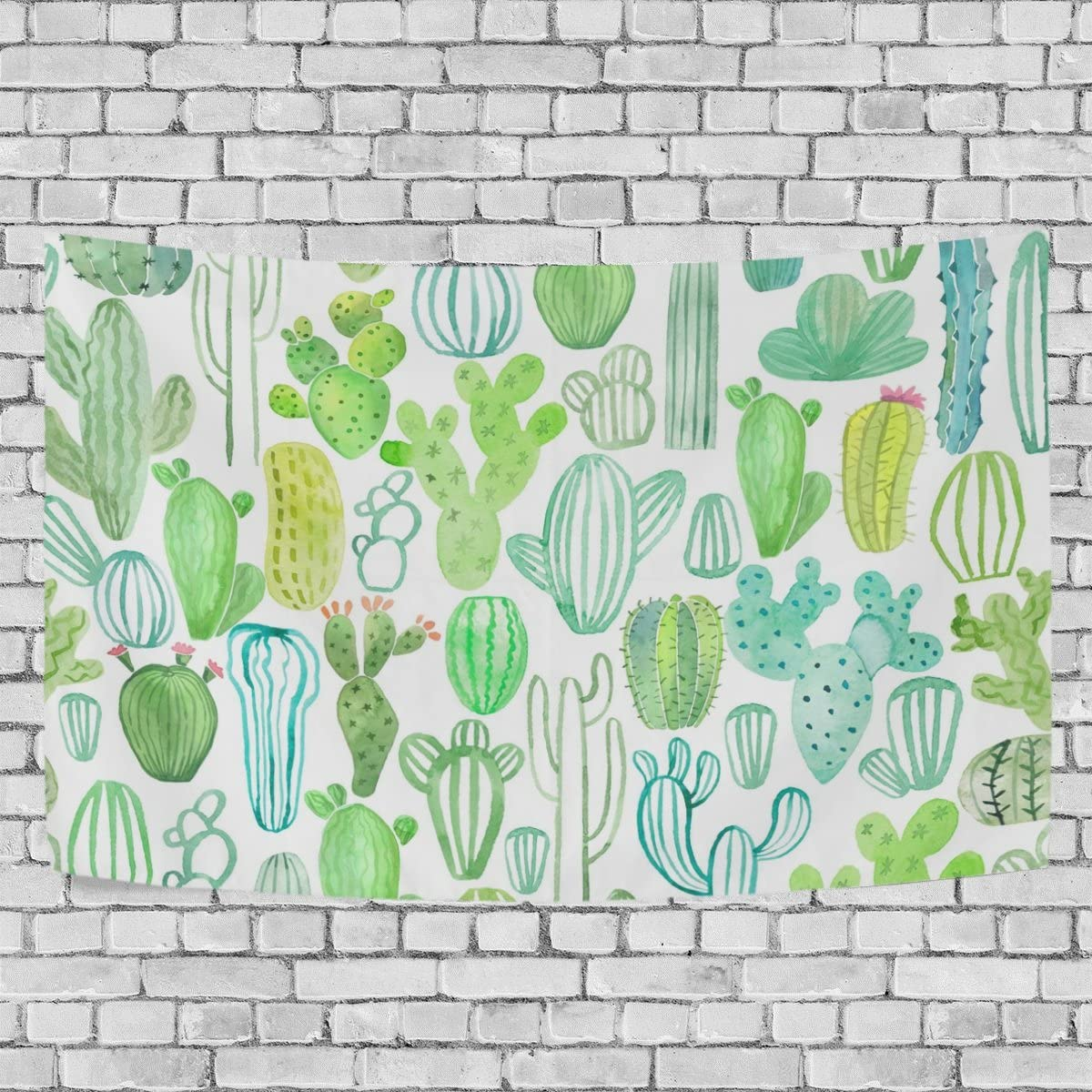 WALLD Ethel Ernest Watercolor Various Cactus Wall Art Decorative, Wall Hanging Tapestry for Bedroom Living Room Dorm Decoration,60 X 51 Inches