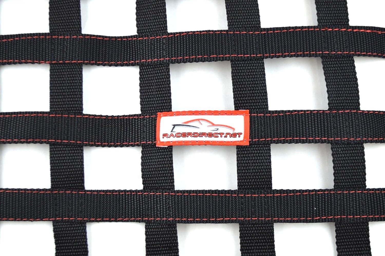 RACERDIRECT Ribbon Window Safety Racing Window NET 24 X 18 Black /& RED SFI 27.1