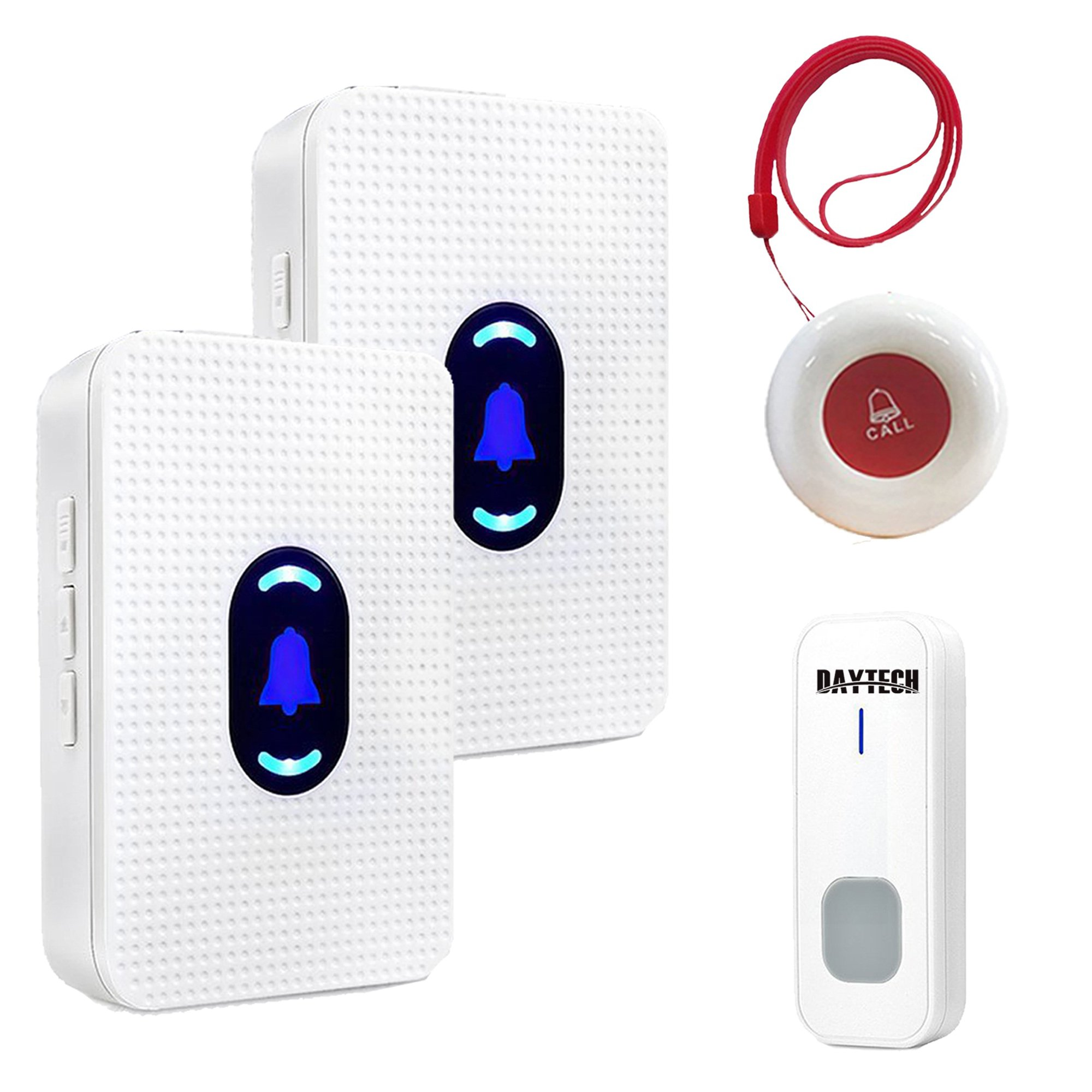 Wireless Smart Caregiver Pager Call Button Personal Alert For Home Patient Nurses Seniors Disabilities, 2 Receivers & 2 Waterproof Transmitters by DAYTECH GROUP CO.,LTD
