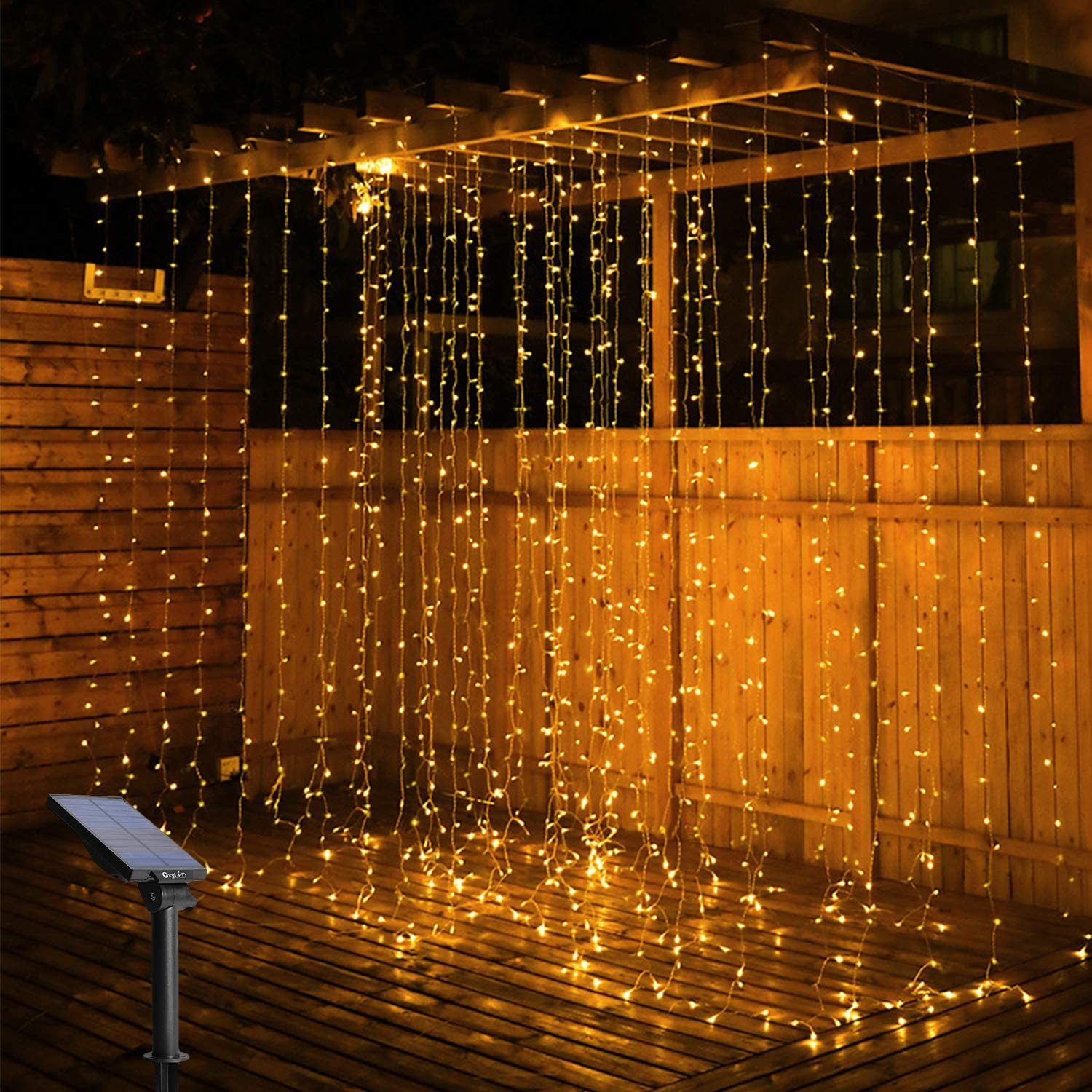Solar Curtain String Lights Outdoor, OxyLED 300 LED Fairy Window String Lights Solar Powered IP65 Waterproof, Twinkle String Lights 8 Modes for Home Garden Patio Porch Backyard Wedding Party Christmas