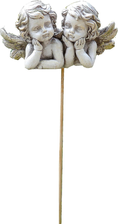 Napco Double Cherub Garden Pick Decorative Stone