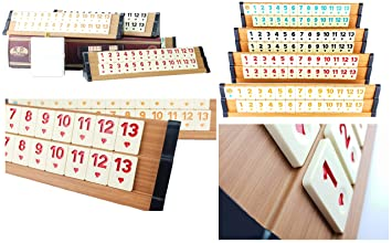 KD Premium Ausführung (hell) Rummy Set Rummikub Okey - hochwertige Verarbeitung (Finish) & Materialien (Holz & Melaminsteine)