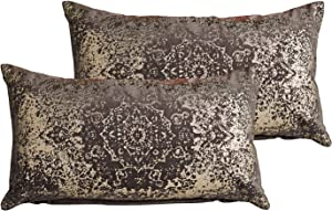 "MOTINI Luxury Grey Rectangle Lumbar Throw Pillow Covers Gold Foil Printed Decorative Metallic 100% Cotton Velvet Soft Cozy Cushion Pillowcase, 12"" x 20"" Set of 2"