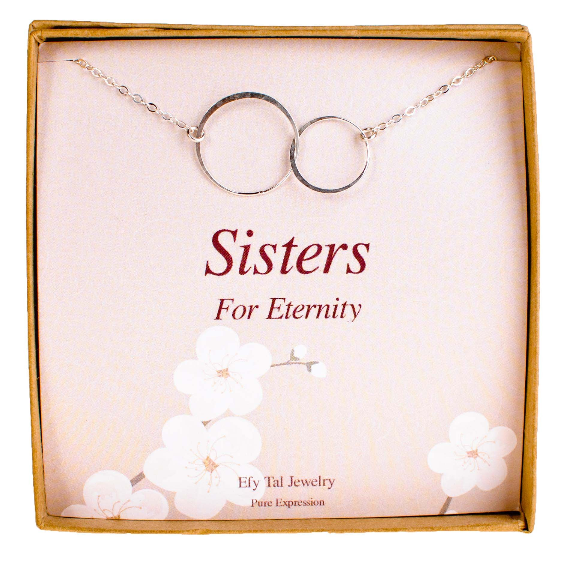 Sterling Silver Sister Birthday Gifts Necklace, 2 Double Circles Sister Necklace Jewelry Gift for Sisters
