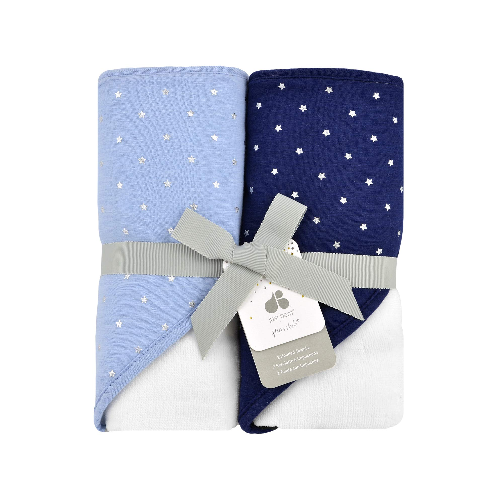 Just Born Sparkle 2pk Hooded Towel Set, Sky Blue by Just Born
