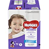 HUGGIES LITTLE MOVERS Diapers, Size 4 (22-37 lb.), 112 Ct., GIANT PACK (Packaging May Vary), Baby Diapers for Active…