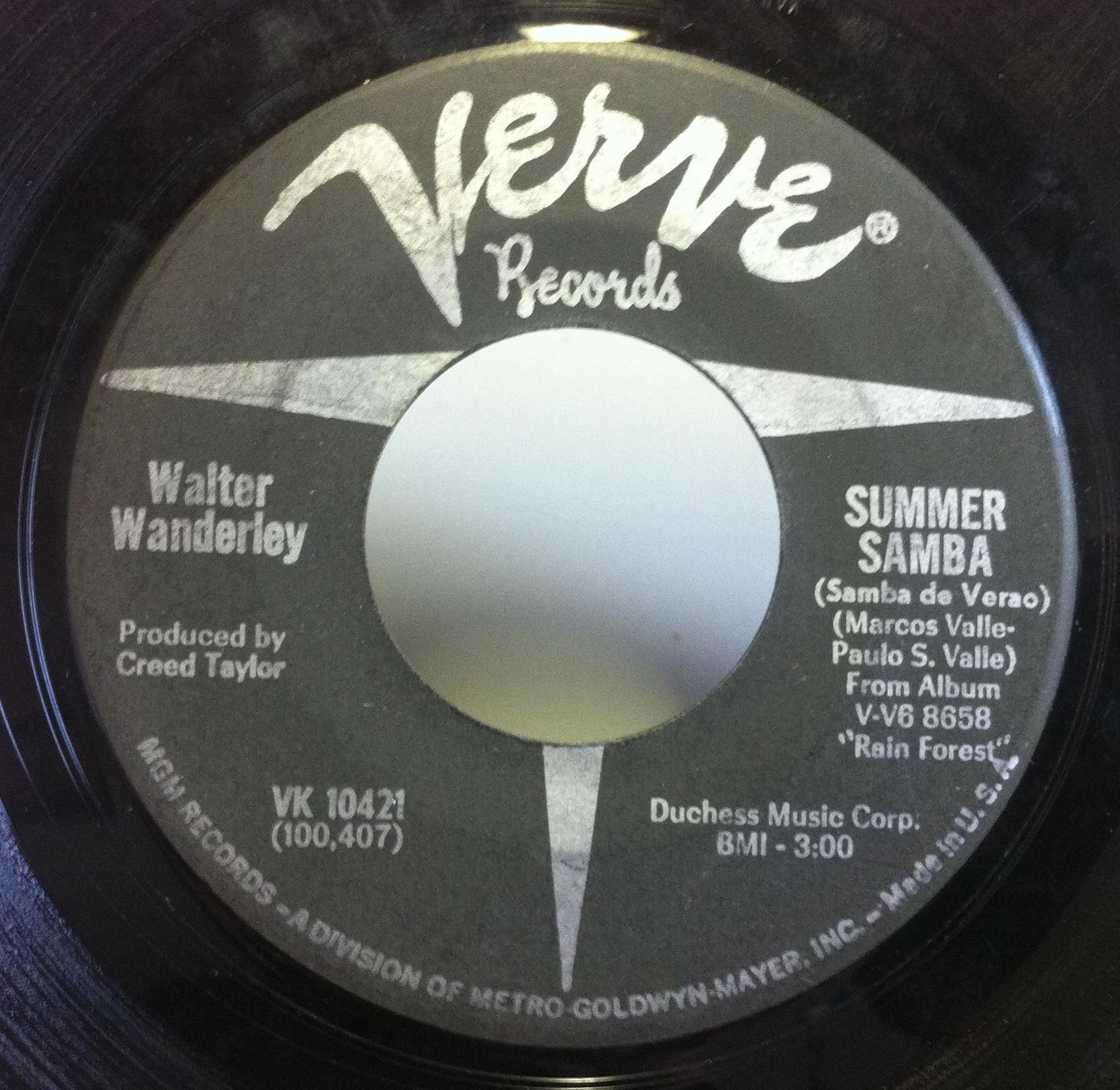 WALTER WANDERLEY summer samba / call me 7'' Used_VeryGood VK 10421 Verve 1966 USA 45