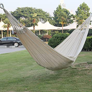 Fangsi Doble algodón portátil Dos Persona Hamaca para Barbacoa, Primavera y otoño de Viaje, Senderismo, Escalada, 100% algodón: Amazon.es: Jardín