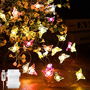 Butterfly Mushroom Cherry Blossoms String Lights, 16.4 ft 50 LEDs USB and Battery Operated Spring Summer Fairy Light Decor for Bedroom Party Garden Wedding with Remote Control (Butterfly)
