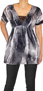 product image for Funfash Women Plus Size Black Gray Lace V Neck Empire Waist Top Shirt Blouse