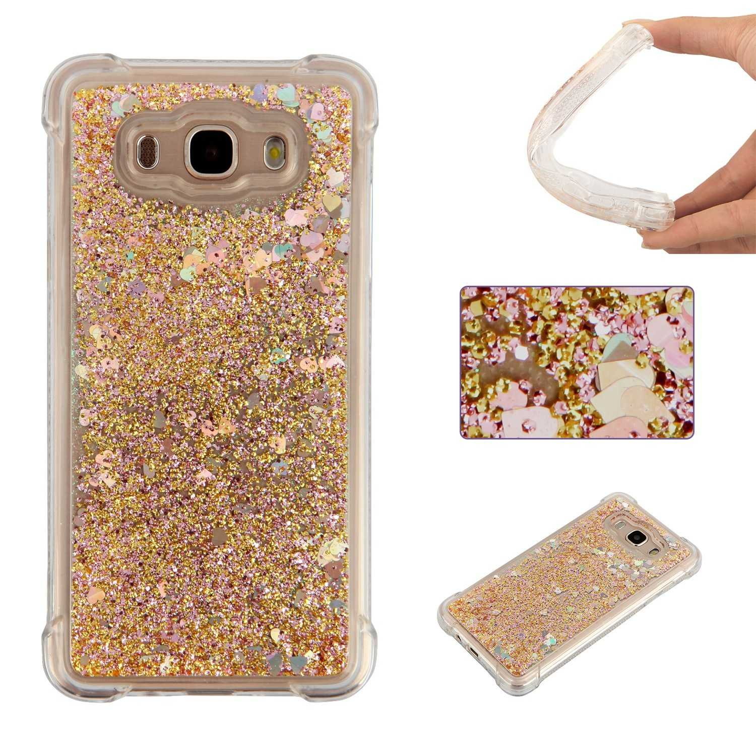 Galaxy J5 2016 Case[with Screen Protector], BoxTii® Galaxy J5 2016 Glitter Liquid TPU Cover, Shockproof Protective Case for Samsung Galaxy J5 2016 (Gold) BoxTii® Galaxy J5 2016 Glitter Liquid TPU Cover BOUK11-J510-F02
