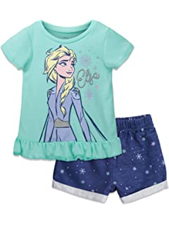 Disney Girls 2 Piece Anna And Elsa Frozen Top And Chambray Short