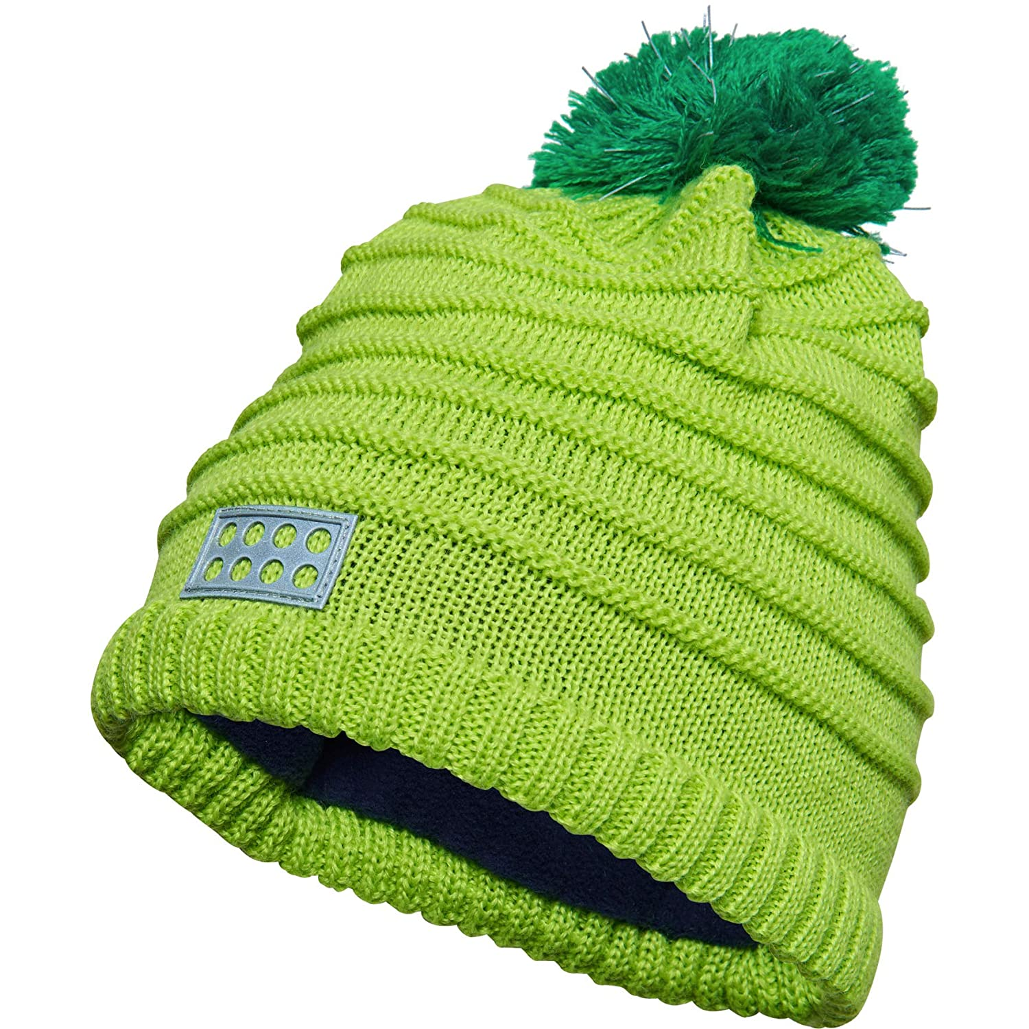 cd3f070c Amazon.com : LEGO Wear Kids & Baby Fleece-Lined Wool Knit Hat with  Reflective Pom Pom & Detail, Lime Green, 8-11 Yr : Clothing