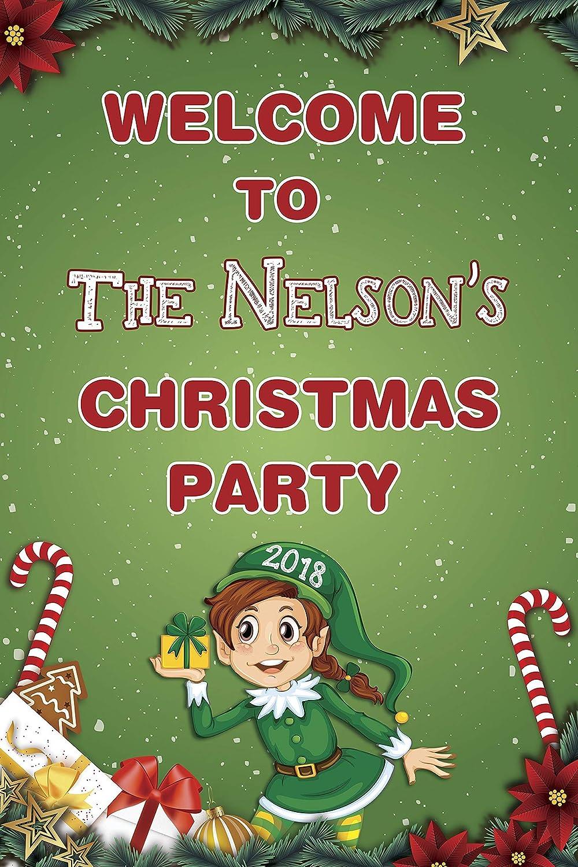 Christmas Celebration Cartoon Images.Amazon Com Christmas Party Elf Welcome Sign Santa S Elf