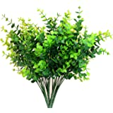 "Aplstar Artificial Shrubs Plants,14"" vibrant Faux Plastic Eucalyptus Leaves, Vivid Bushes for Home Decor, Wedding,Garden,Patio Decoration,4 Bundles"