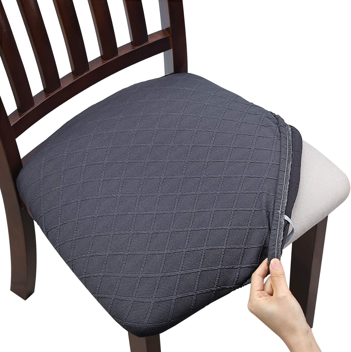 Fuloon Stretch Jacquard Chair Seat Covers,Removable Washable Anti-Dust Dinning Room Chair Seat Cushion Slipcovers (4, Gray)