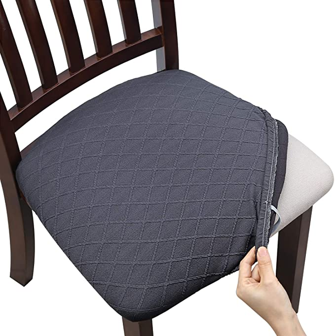 Fuloon Stretch Jacquard Chair Seat Covers,Removable Washable Anti-Dust Dinning Room Chair Seat Cushion Slipcovers (6, Gray)