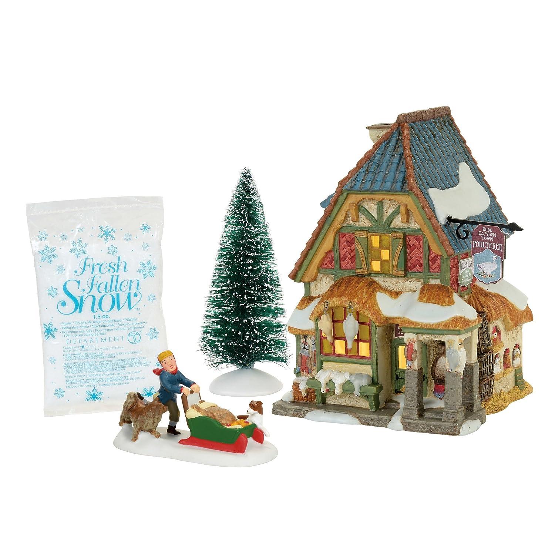 Department 56 Dickens A Christmas Carol Poulterers Shop Lit Building and Fresh Fallen Snow Village Set, Multicolor 4056648