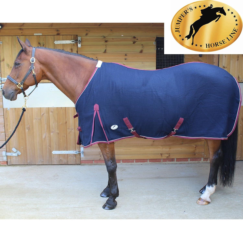 6'0\ Tigerbox® JHL Waffle Weave Horse Cooler Rug Navy Burgundy (6' 0 ) and Antibacterial Pen