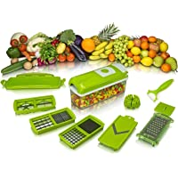 Krishna Sales 12 in 1 Slicer Dicer Plus 12 Pieces Grater Food-Chopper Multi-Cutter Slicer Peeler, Dicing Fruit, Vegetable Storage Container (Green Color)