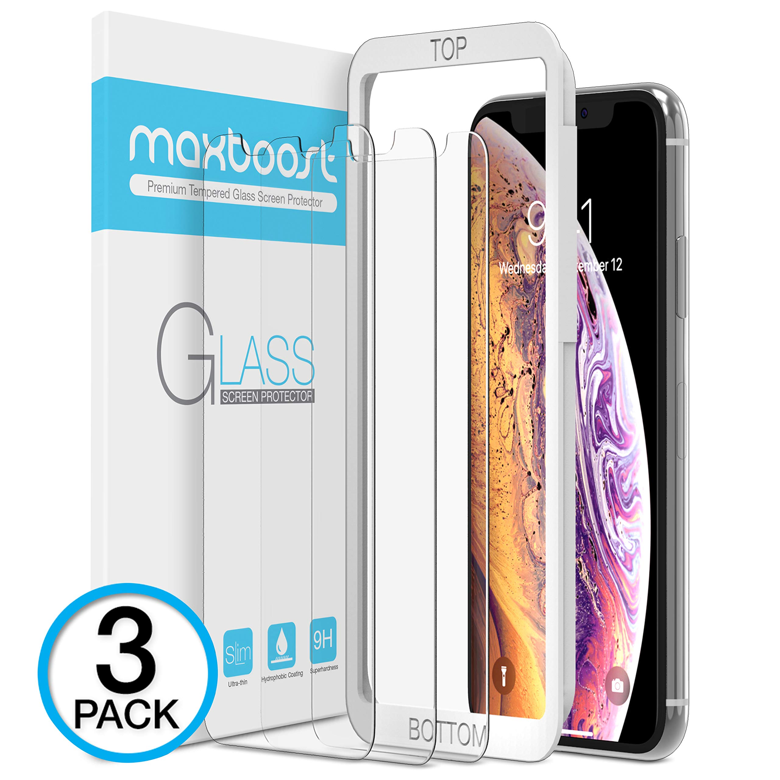 Maxboost Screen Protector for Apple iPhone XS Max (6.5 inch) (Clear, 3 Packs) 0.25mm iPhone XS Max Tempered Glass Screen Protector w/ Advanced Clarity [3D Touch] Work with most Case 99% Touch Sensitiv by Maxboost