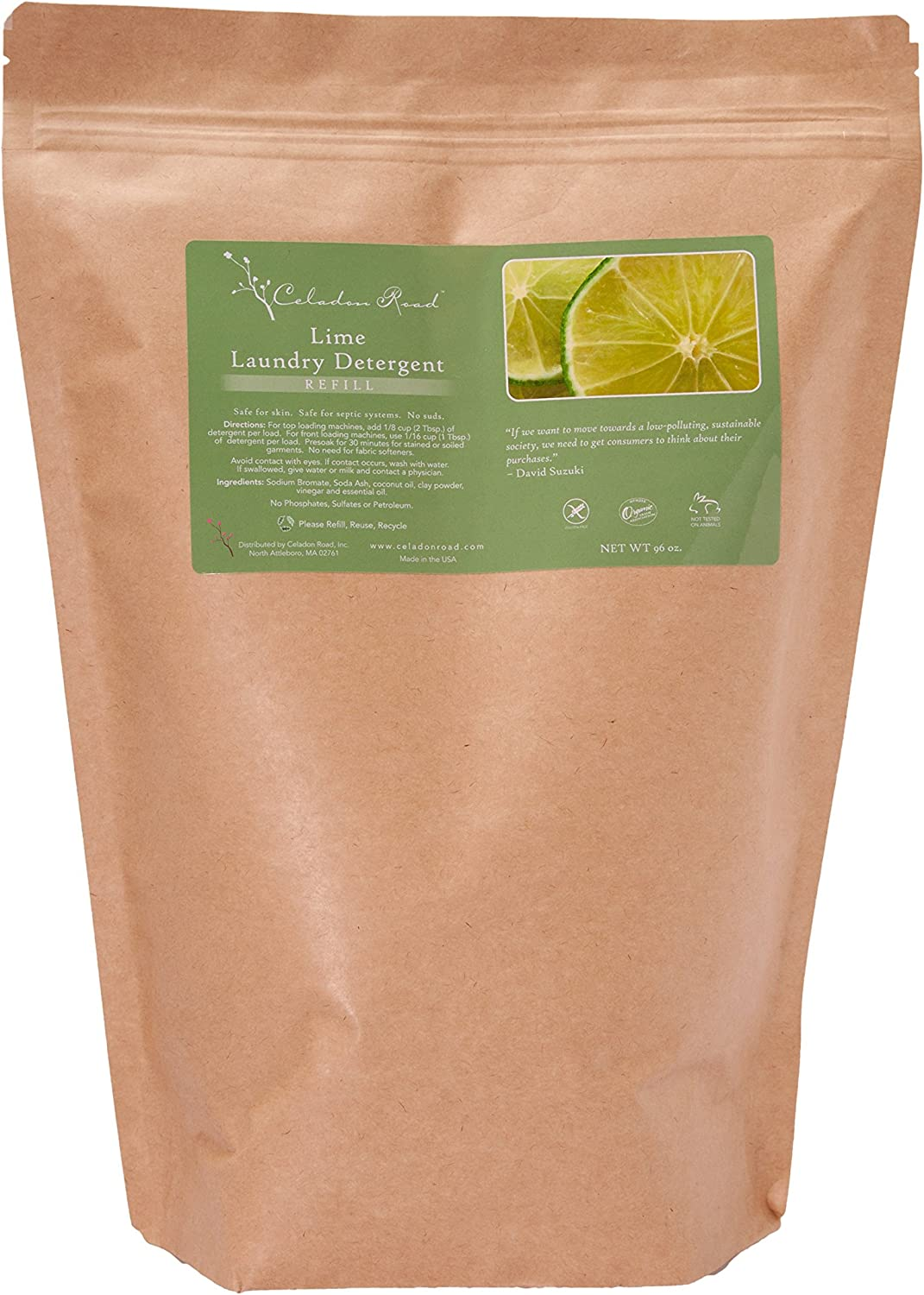 Celadon Road Lime Laundry Detergent Refill All Natural Ingredients Made in USA Ultra Concentrated - Sulfate-Free and Phosphate Free - 192 HE Loads 96oz