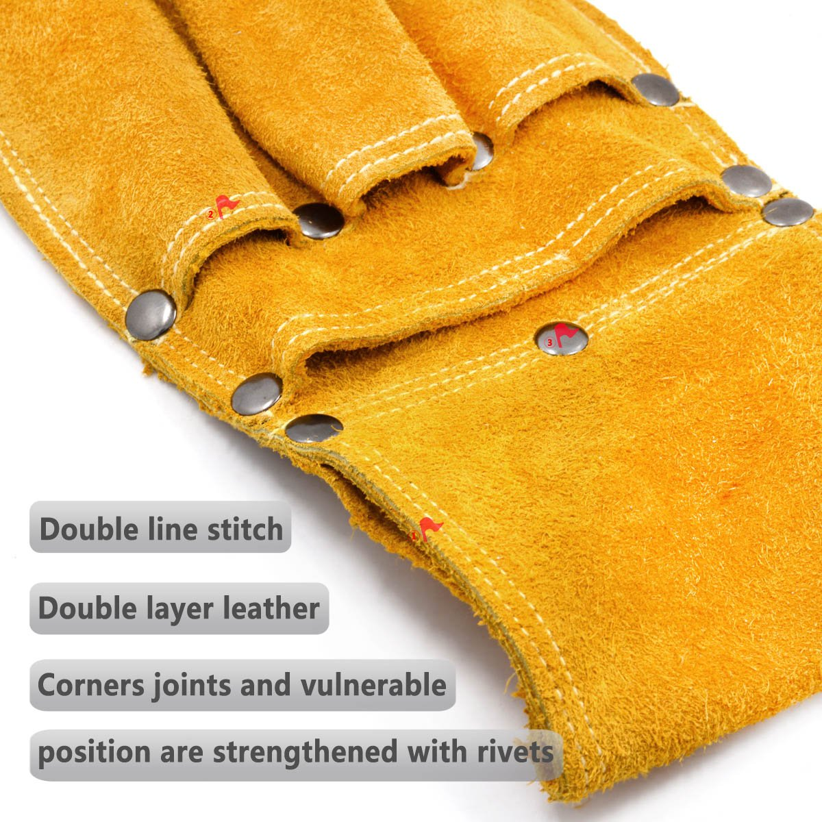 Koopi Heavy Duty Bilayer Suede Electriciann Machinist Tool Bag Holster Pouch Carpenter Work Apron And Gardener Tool Organizer-4 Pocket by Koopi (Image #4)