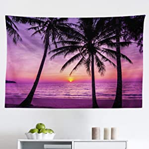 """Ambesonne Ocean Tapestry, Palm Trees Silhouette at Sunset Dreamy Dusk Warm Exotic Twilight Scenery Image, Fabric Wall Hanging Decor for Bedroom Living Room Dorm, 45"""" X 30"""", Purple Black"""