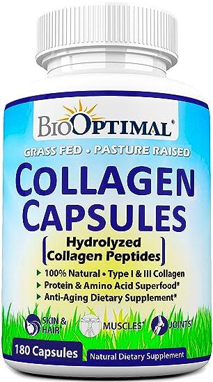 BioOptimal Collagen Pills - Collagen Supplements, Grass Fed, 180 Capsules, Non-GMO, for Women & Men, Benefits Skin, Hair, Nails & Joints, Collagen ...