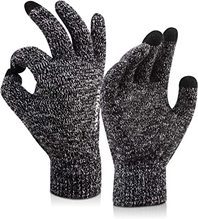 Soft Anti-skid Warm Gloves Black Winter Gloves for Men Women Touchscreen