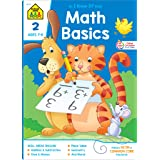 School Zone - Math Basics 2 Workbook - 64 Pages, Ages 7 to 8, 2nd Grade, Addition & Subtraction, Time & Money, Place Value, F
