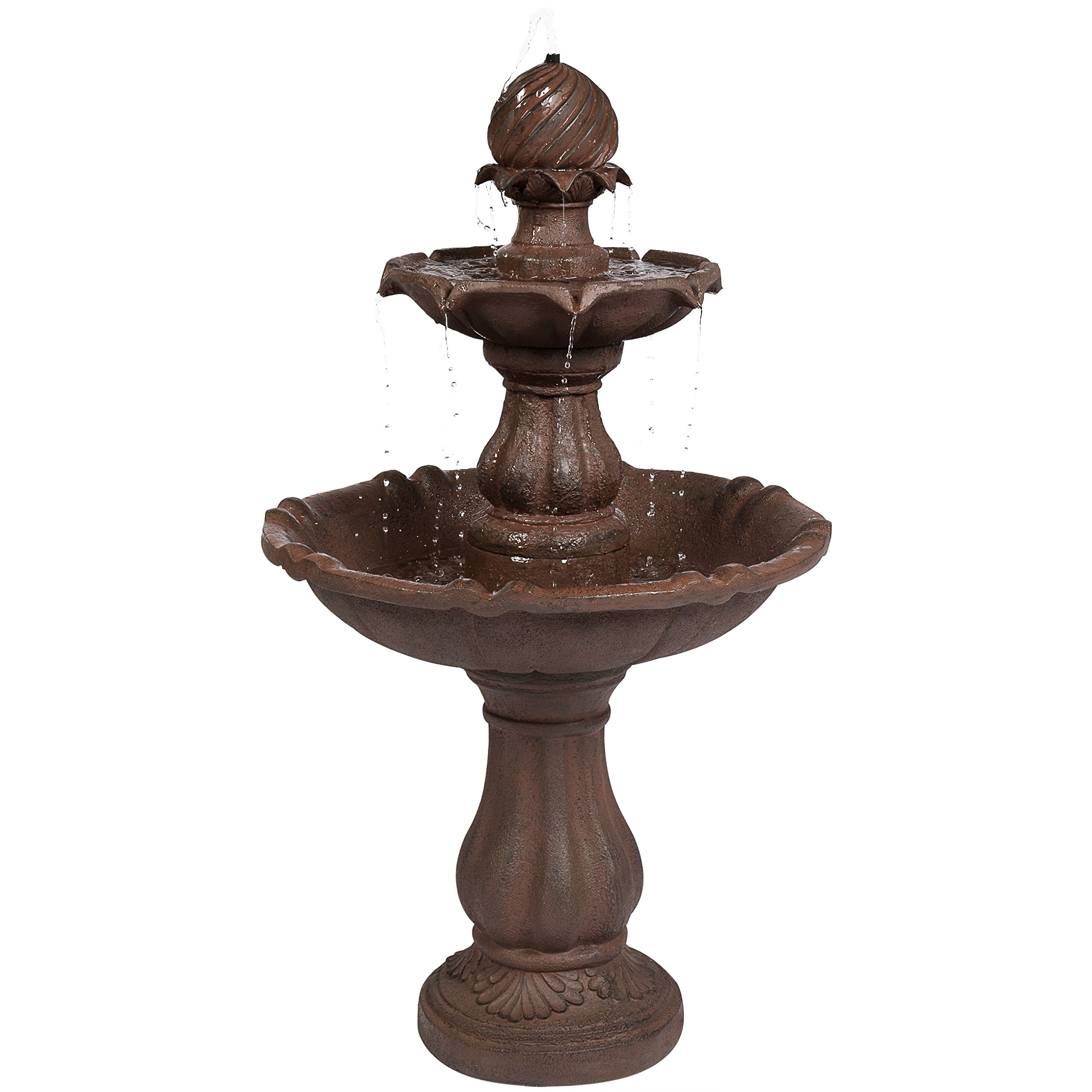 Best Choice Products 2-Tier 42in Outdoor Free-Standing Water Fountain w/ Electric Submersible Pump - Brown