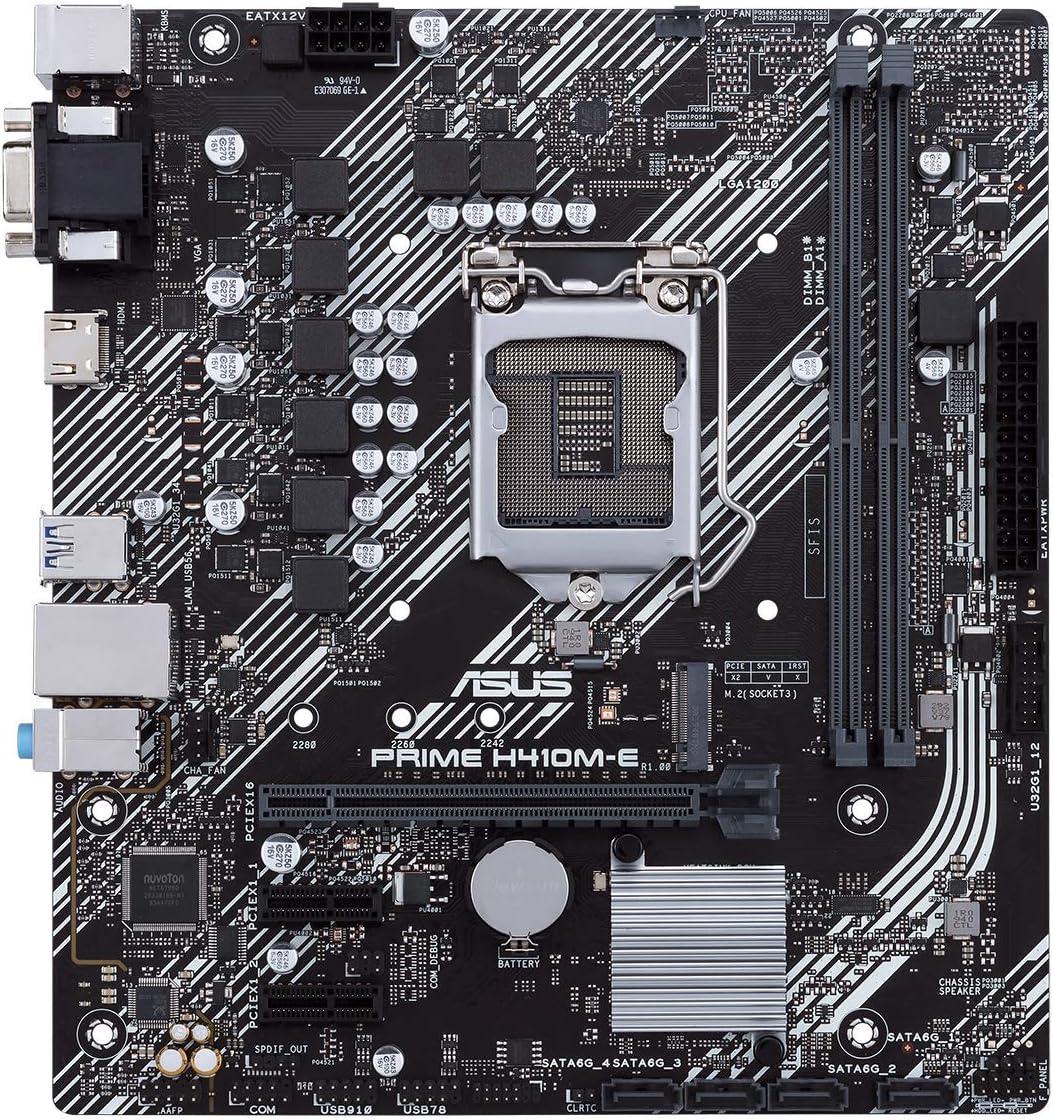 ASUS Prime H410M-E LGA1200 M.2 Support, HDMI, D-Sub, USB 3.2 Gen 1, COM Header, TPM Header, 4K@60Hz Intel 10th Gen Micro-ATX Motherboard