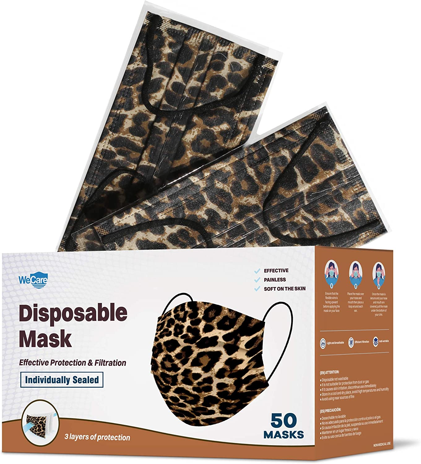 WeCare Disposable Face Mask Individually Wrapped - 50 Pack, Printed Masks - 3 Ply
