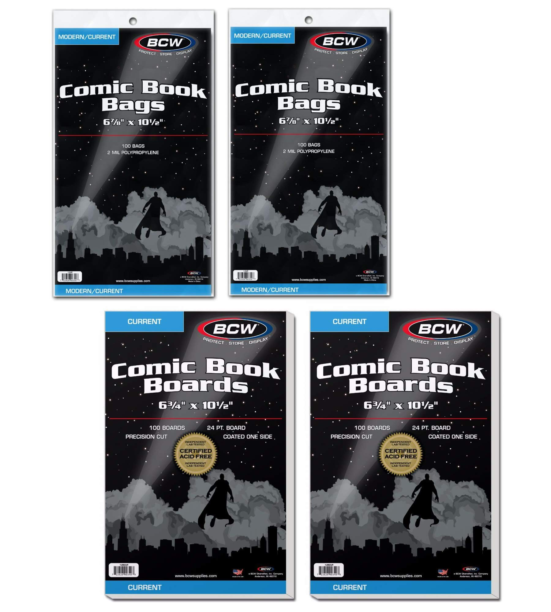 100 BCW Current Comic Book Bags and Boards 2-Pack by BCW